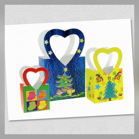 Bolsa con Asa Corazón Varios Tamaños Navidad