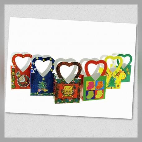 Bolsa c/asa Corazón Mediana Navidad