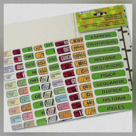 Etiquetas para Materias Secundaria