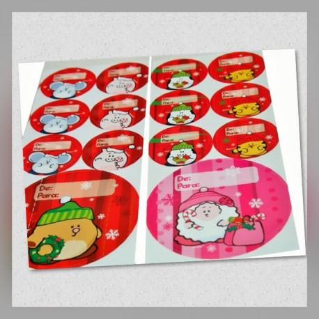 Etiquetas De/Para Borlitas Navidad